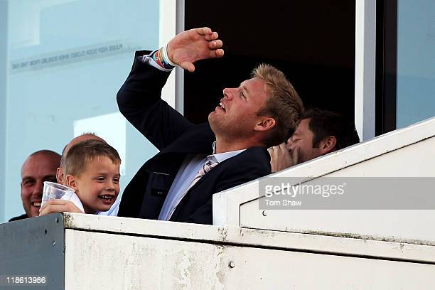 Andrew Flintoff watches on from the stands during the fifth Natwest One Day International between England and Sri Lanka at Old Trafford on July 9...