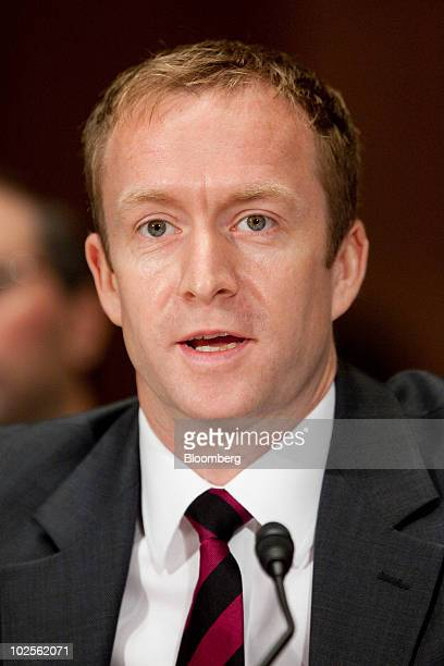 Andrew Forster former senior vice president and chief financial officer of financial services with American International Group Inc speaks during a...