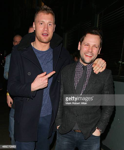Andrew 'Freddie' Flintoff and Gordon Smart leaving the Groucho club on February 13 2014 in London England