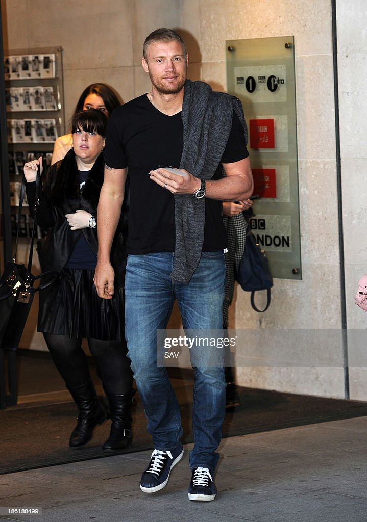 Andrew 'Freddie' Flintoff pictured at the BBC on October 29, 2013 in London, England.