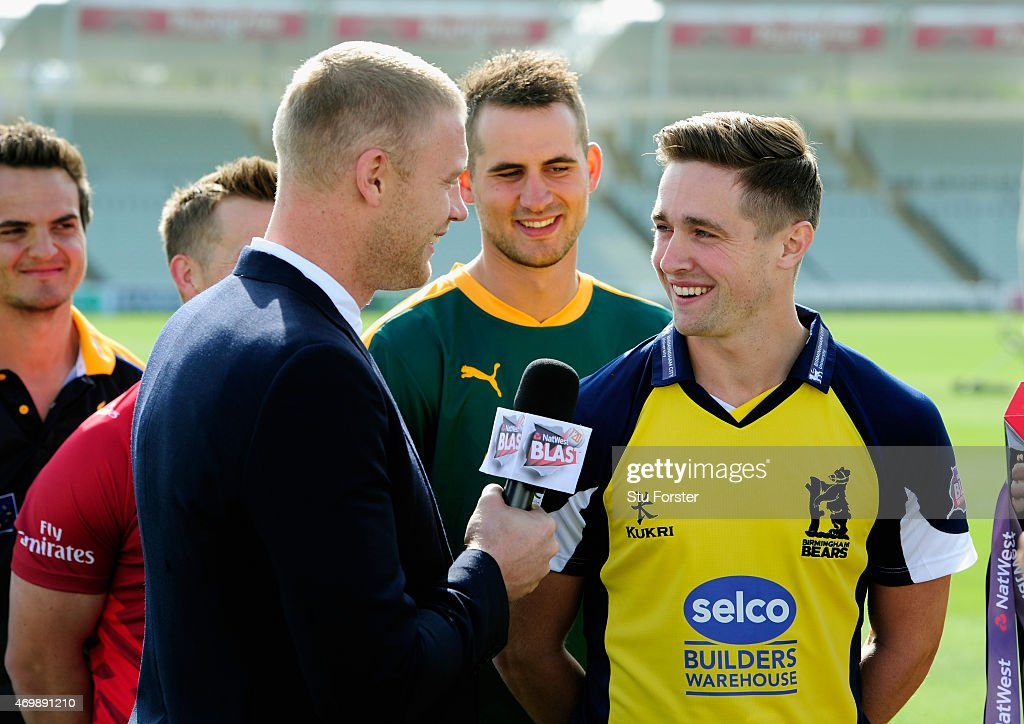 2014 Andrew 'Freddie' Flintoff shares a joke with Birmingham Bears player Chris Woakes at the Natwest T20 Blast Media Launch at Edgbaston on April 16...