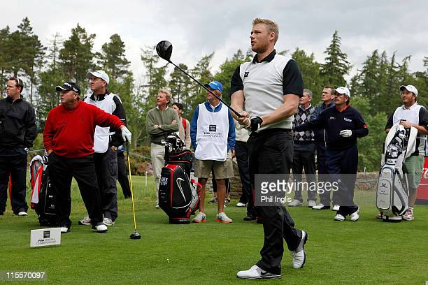 Andrew 'Freddie' Flintoff tees off on the 10th during the ProAm for the the De Vere Club PGA Seniors Championship played at the Hunting Course De...