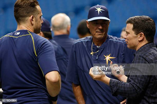Andrew Friedman president of Baseball Operation for the Los Angeles Dodgers talks with third baseman Evan Longoria of the Tampa Bay Rays and Rays'...