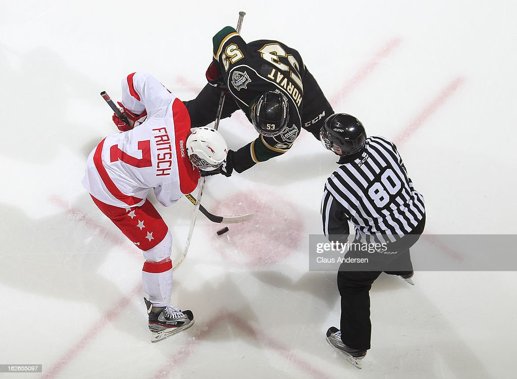 Andrew Fritsch #7 of the Sault Ste. Marie Greyhounds takes a faceoff against Bo Horvat #53 of the London Knights in an OHL game on February 22, 2013 at the Budweiser Gardens in London, Ontario, Canada. The Knights defeated the Greyhounds 4-3 in overtime.