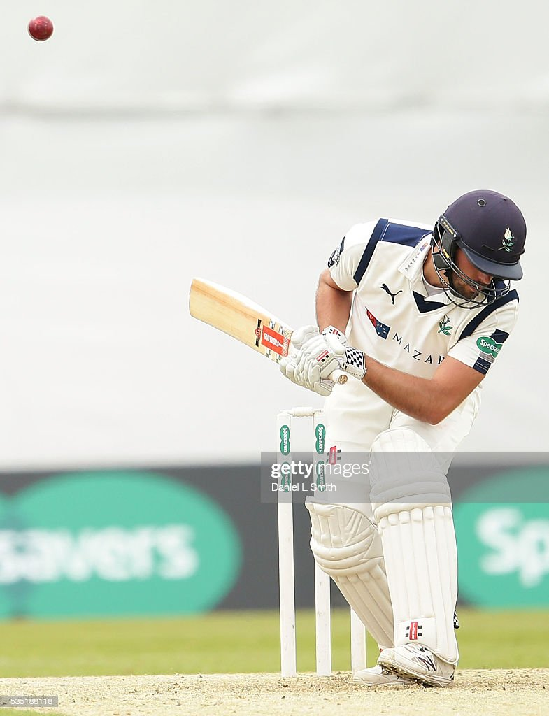 Andrew Gale (C) of Yorkshire bats during day one of the Specsavers County Championship: Division One match between Yorkshire and Lancashire at Headingley on May 29, 2016 in Leeds, England.