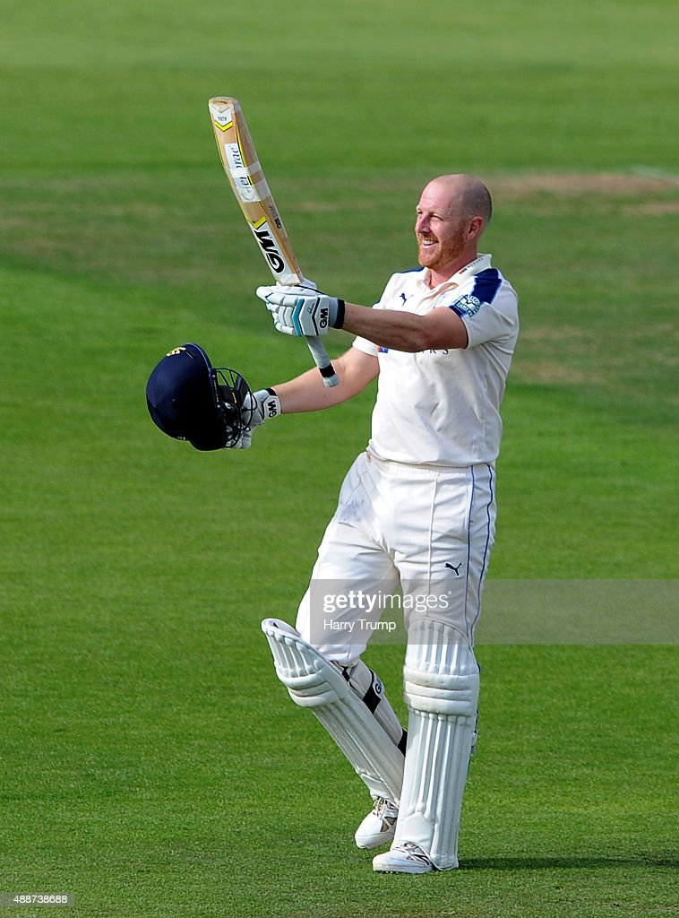 Andrew Gale of Yorkshire celebrates his century during the LV County Championship match between Hampshire and Yorkshire at Ageas Bowl on September 17...