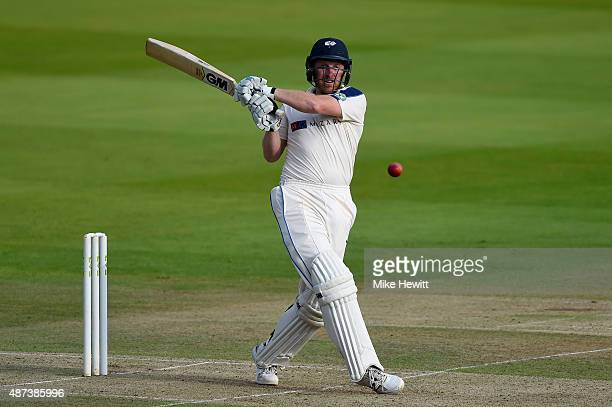 Andrew Gale of Yorkshire hits a boundary during the LV County Championship match between Middlesex and Yorkshire at Lord's Cricket Ground on...