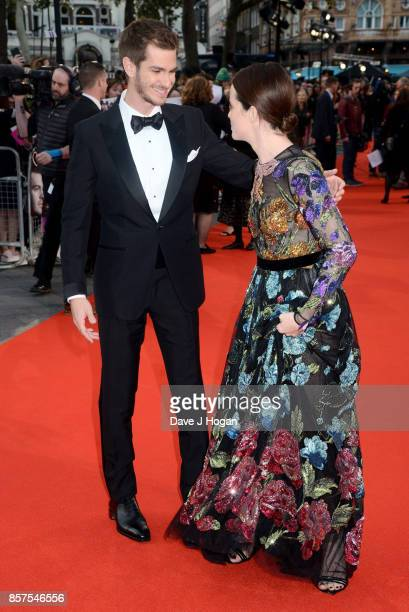 Andrew Garfield and Claire Foy attend the European Premiere of 'Breathe' on the opening night gala of the 61st BFI London Film Festival on October 4...