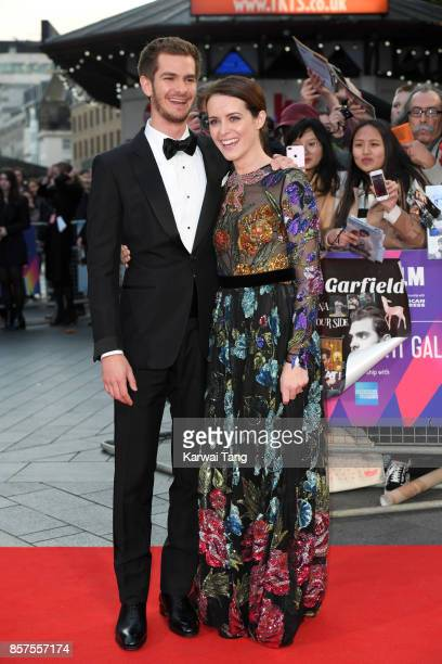 Andrew Garfield and Claire Foy attend the European Premiere of 'Breathe' on the opening night Gala of the 61st BFI London Film Festival at the Odeon...