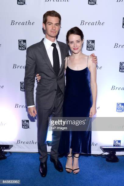 Andrew Garfield and Claire Foy attend the RBC hosted 'Breathe' cocktail party at RBC House Toronto Film Festival 2017 on September 11 2017 in Toronto...
