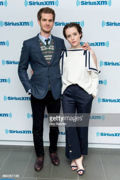 Andrew Garfield and Claire Foy visit SiriusXM Studios on October 11 2017 in New York City