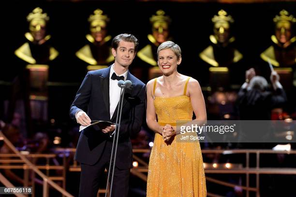 Andrew Garfield and Denise Gough present the Best Actress award on stage during The Olivier Awards 2017 at Royal Albert Hall on April 9 2017 in...