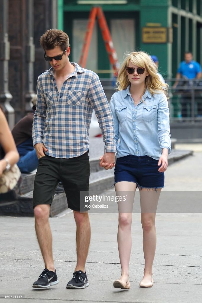 <a gi-track='captionPersonalityLinkClicked' href=/galleries/search?phrase=Andrew+Garfield&family=editorial&specificpeople=4047840 ng-click='$event.stopPropagation()'>Andrew Garfield</a> and <a gi-track='captionPersonalityLinkClicked' href=/galleries/search?phrase=Emma+Stone&family=editorial&specificpeople=672023 ng-click='$event.stopPropagation()'>Emma Stone</a> are seen in Tribeca on May 31, 2013 in New York City.