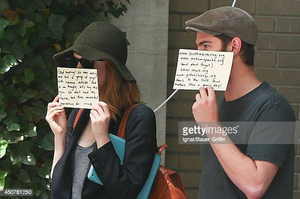 Andrew Garfield and Emma Stone are seen on June 17 2014 in New York City