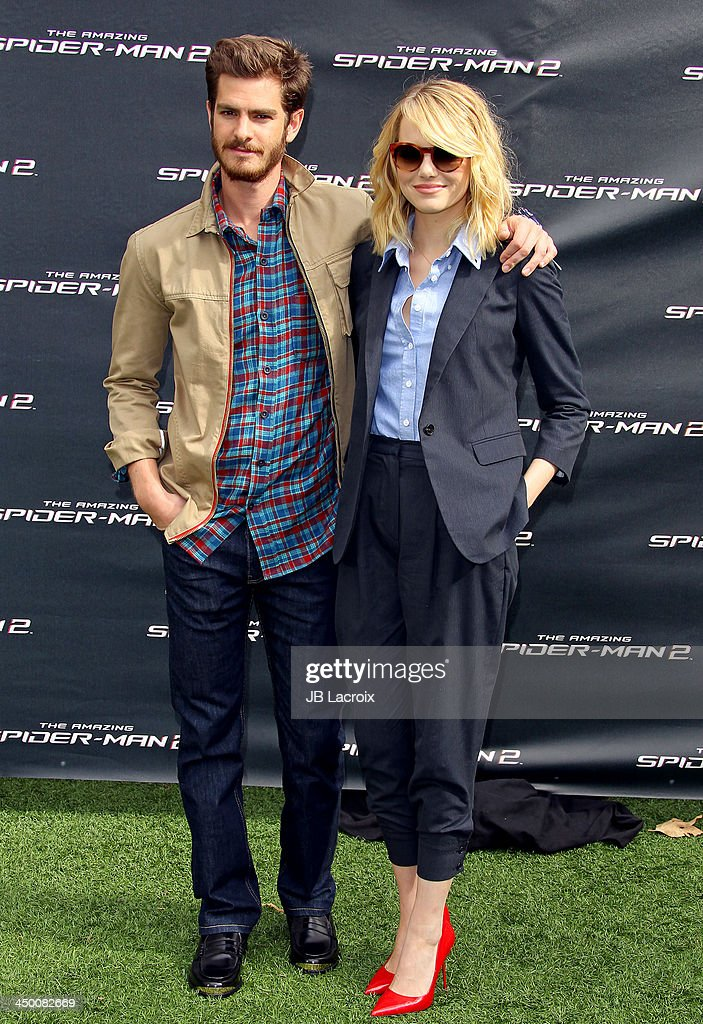 Andrew Garfield and Emma Stone attend 'The Amazing Spiderman 2' Photo Call held at Sony Pictures Studios on November 16, 2013 in Culver City, California.