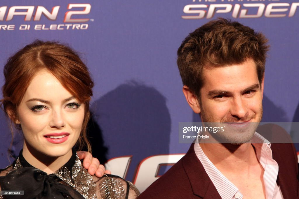 Andrew Garfield and Emma Stone attend 'The Amazing Spider-Man 2: Rise Of Electro' Rome Premiere on April 14, 2014 in Rome, Italy.
