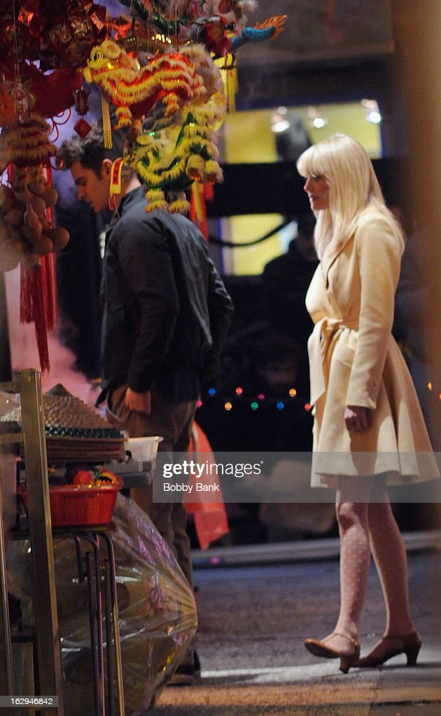 Andrew Garfield and Emma Stone filming on location for 'The Amazing Spiderman 2' on March 1, 2013 in New York City.