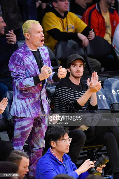 Andrew Garfield and Flea attend a basketball game between the Atlanta Hawks and the Los Angeles Lakers at Staples Center on November 27 2016 in Los...