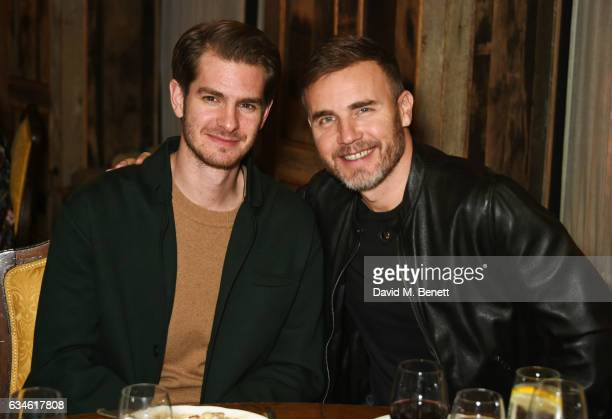 Andrew Garfield and Gary Barlow attend a dinner cohosted by Harvey Weinstein Burberry Evgeny Lebedev ahead of the 2017 BAFTA film awards in...