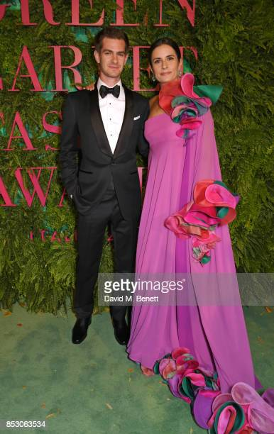 Andrew Garfield and Livia Firth attends the Green Carpet Fashion Awards Italia wearing Roberto Capucci for the Green Carpet Challenge at Teatro Alla...