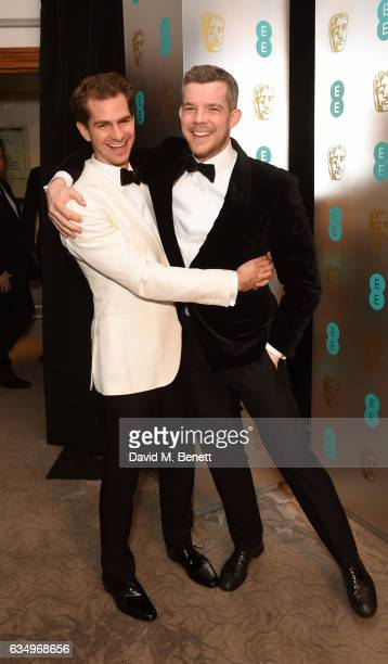 Andrew Garfield and Russell Tovey attend the official After Party Dinner for the EE British Academy Film Awards at Grosvenor House on February 12...