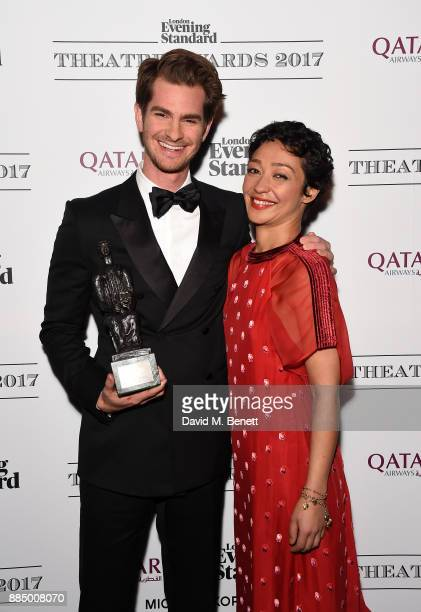 Andrew Garfield and Ruth Negga pose at the London Evening Standard Theatre Awards 2017 at the Theatre Royal Drury Lane on December 3 2017 in London...