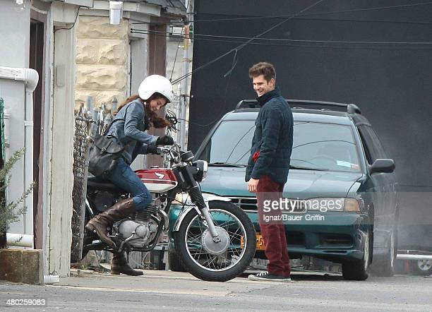 Andrew Garfield and Shailene Woodley are seen filming 'The Amazing SpiderMan 2' on February 26 2013 in New York City