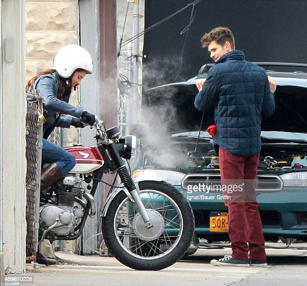 Andrew Garfield and Shailene Woodley are seen on the movie set of The Amazing SpiderMan 2 on February 26 2013 in New York City