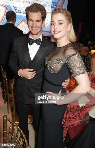 Andrew Garfield and Stefanie Martini attend the London Evening Standard Theatre Awards 2017 at the Theatre Royal Drury Lane on December 3 2017 in...