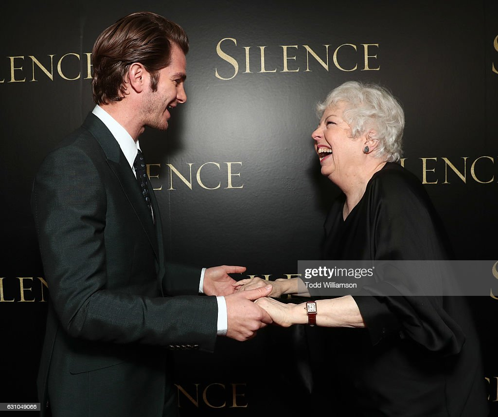 Andrew Garfield and Thelma Schoonmaker attend the premiere of Paramount Pictures' 'Silence' at the Directors Guild Of America on January 5, 2017 in Los Angeles, California.