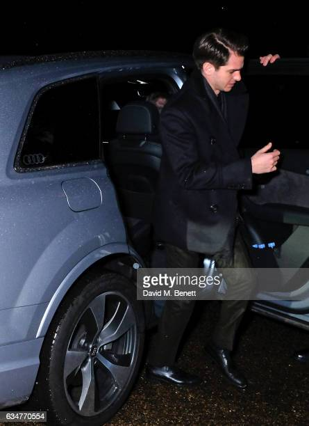 Andrew Garfield arrives in an Audi at the BAFTA Nespresso Nominees' Party at Kensington Palace on February 11 2017 in London England
