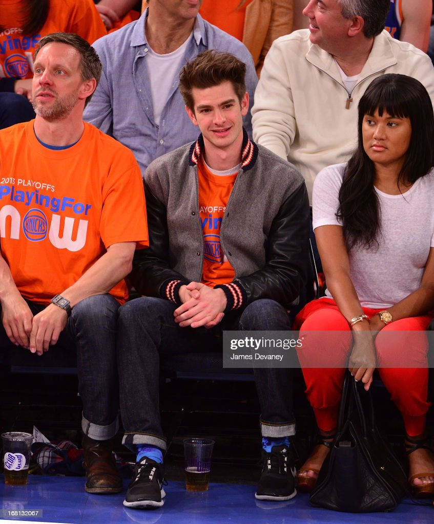 Andrew Garfield attends the New York Knicks vs Indiana Pacers NBA playoff game at Madison Square Garden on May 5, 2013 in New York City.