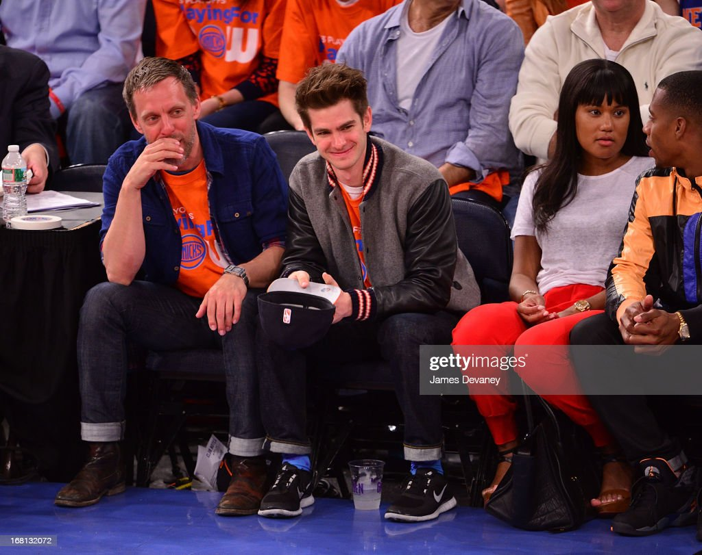 <a gi-track='captionPersonalityLinkClicked' href=/galleries/search?phrase=Andrew+Garfield&family=editorial&specificpeople=4047840 ng-click='$event.stopPropagation()'>Andrew Garfield</a> attends the New York Knicks vs Indiana Pacers NBA playoff game at Madison Square Garden on May 5, 2013 in New York City.