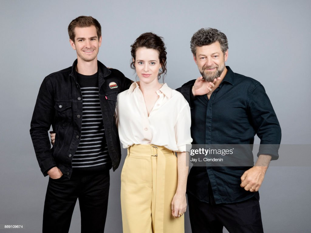 Andrew Garfield, Claire Foy and director Andy Serkis from the film, 'Breathe,' pose for a portrait at the 2017 Toronto International Film Festival for Los Angeles Times on September 12, 2017 in Toronto, Ontario.
