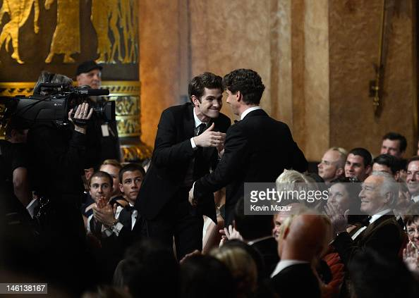 Andrew Garfield congratulates Christian Borle of Peter and the Starcatcher for Best Performance by an Actor in a Featured Role in a Play at the 66th...