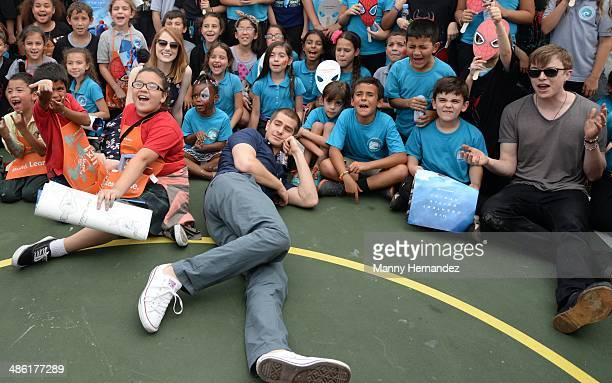 Andrew Garfield Emma Stone and Dane DeHaan participates in Be Amazing 2014 Miami at Hialeah Gardens Elementary on April 22 2014 in Hialeah Florida