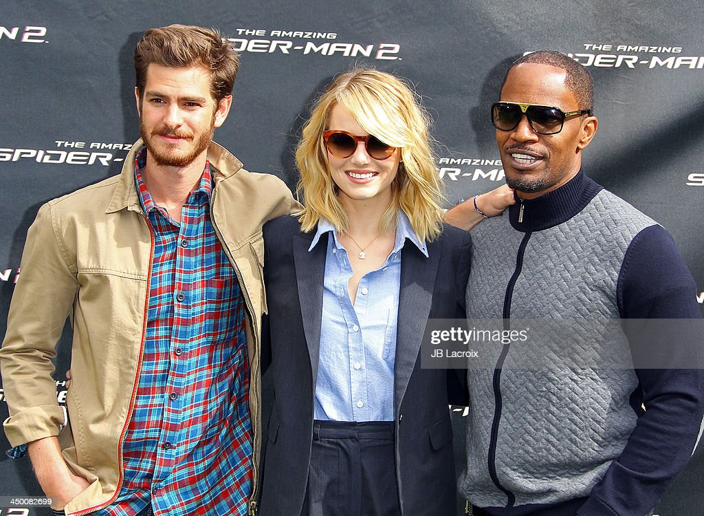 <a gi-track='captionPersonalityLinkClicked' href=/galleries/search?phrase=Andrew+Garfield&family=editorial&specificpeople=4047840 ng-click='$event.stopPropagation()'>Andrew Garfield</a>, <a gi-track='captionPersonalityLinkClicked' href=/galleries/search?phrase=Emma+Stone&family=editorial&specificpeople=672023 ng-click='$event.stopPropagation()'>Emma Stone</a> and <a gi-track='captionPersonalityLinkClicked' href=/galleries/search?phrase=Jamie+Foxx&family=editorial&specificpeople=201715 ng-click='$event.stopPropagation()'>Jamie Foxx</a> attend 'The Amazing Spiderman 2' Photo Call held at Sony Pictures Studios on November 16, 2013 in Culver City, California.