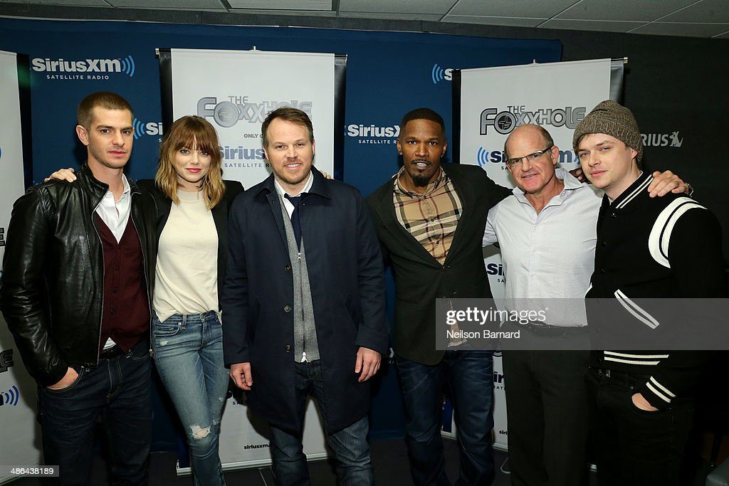 Andrew Garfield Emma Stone Director Marc Webb Jamie Foxx and Dane DeHaan of the cast of 'The Amazing SpiderMan 2' pose with SiriusXM President and...
