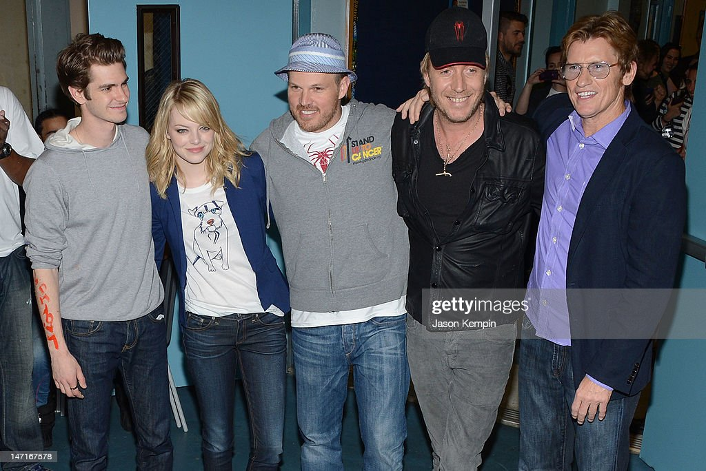 Andrew Garfield, Emma Stone, Marc Webb, Rhys Ifans and Denis Leary attend the 'Be Amazing' Stand Up Volunteer Initiative at Madison Boys And Girls Club on June 26, 2012 in the Brooklyn borough of New York City.