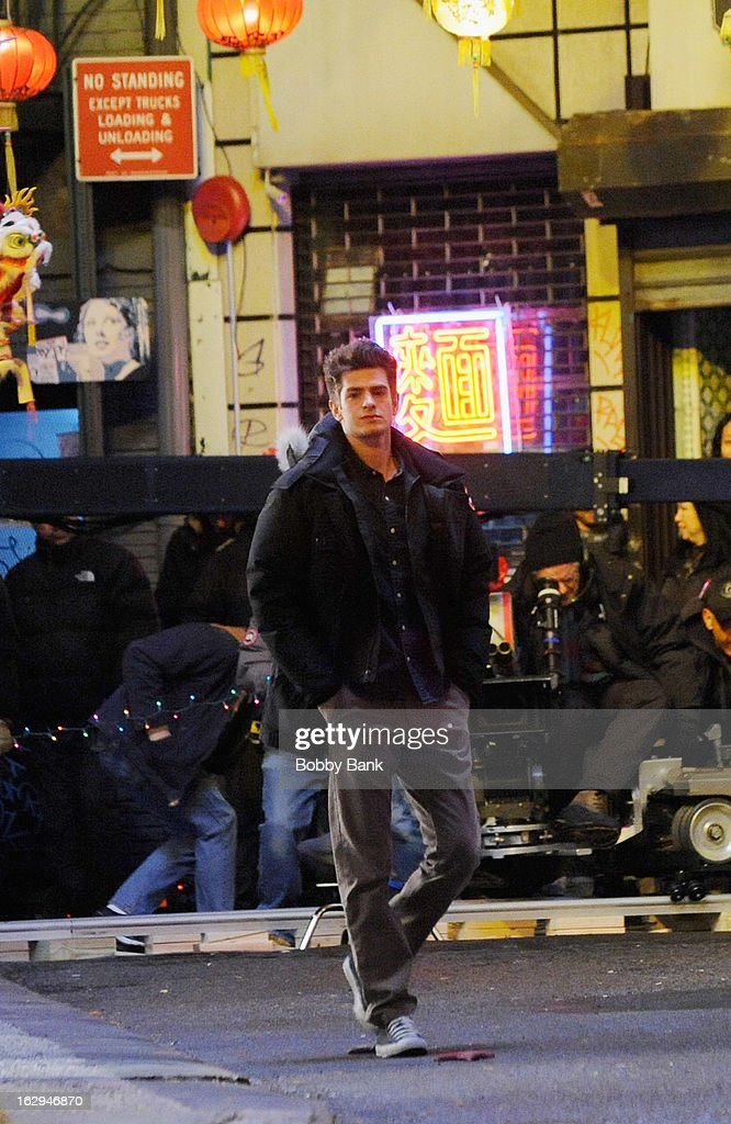 Andrew Garfield filming on location for 'The Amazing Spiderman 2' on March 1, 2013 in New York City.