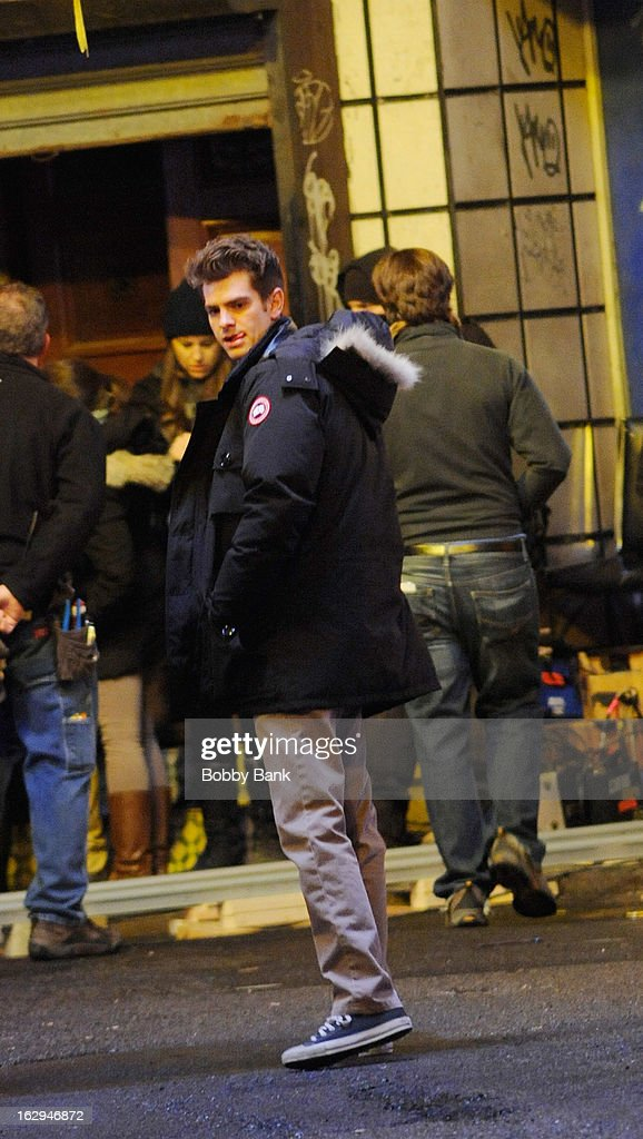 <a gi-track='captionPersonalityLinkClicked' href=/galleries/search?phrase=Andrew+Garfield&family=editorial&specificpeople=4047840 ng-click='$event.stopPropagation()'>Andrew Garfield</a> filming on location for 'The Amazing Spiderman 2' on March 1, 2013 in New York City.