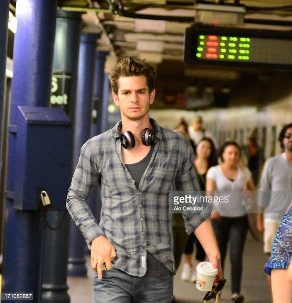 Andrew Garfield is seen in the New York City Subway on June 21 2013 in New York City
