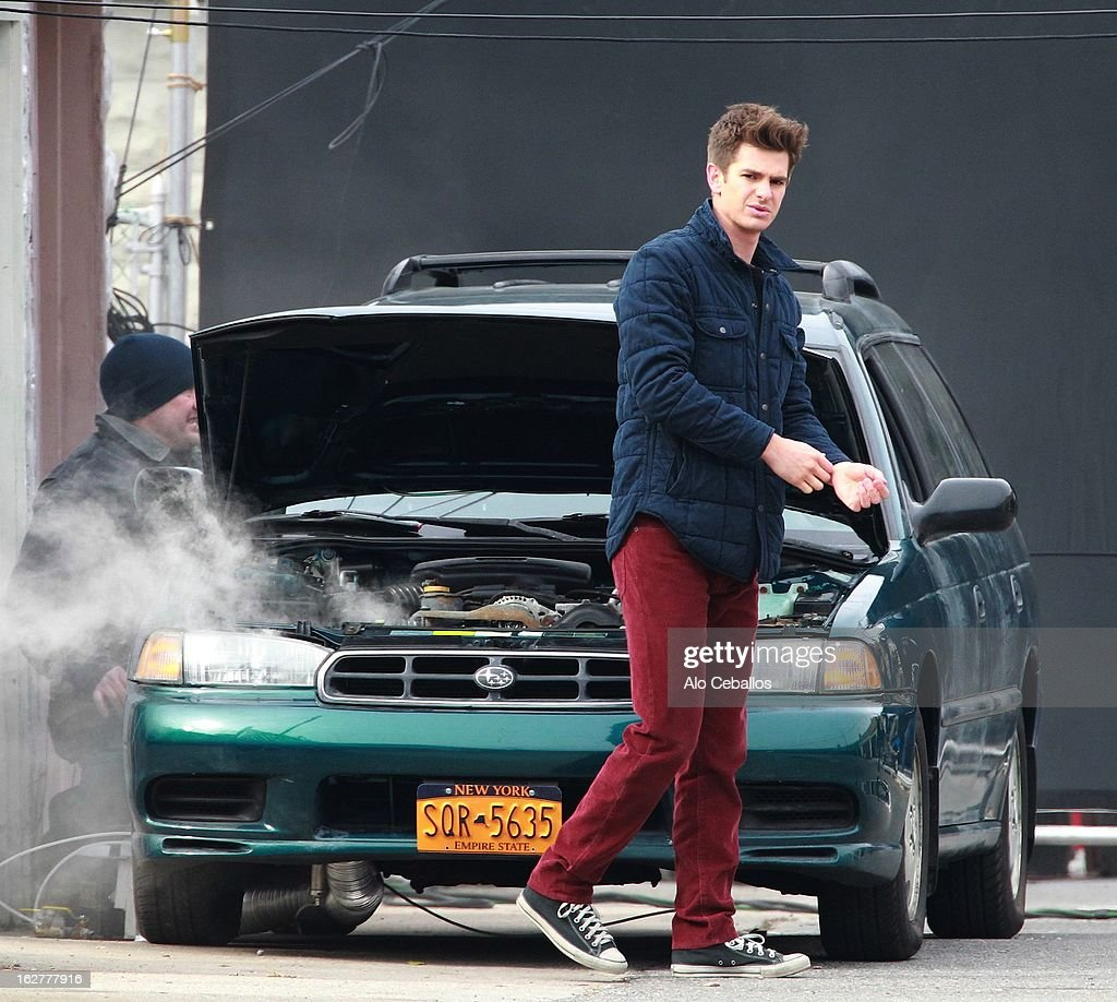 Andrew Garfield is seen on the set of 'The Amazing Spider-Man 2' on February 26, 2013 in New York City.