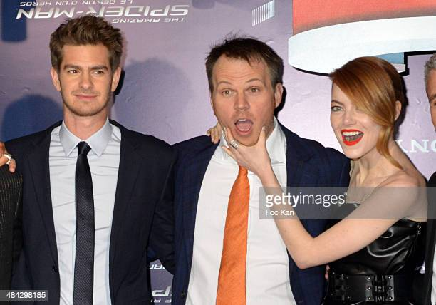 Andrew Garfield Marc Webb and Emma Stone attend 'The Amazing SpiderMan 2' Paris Premiere at Le Grand Rex on April 11 2014 in Paris France