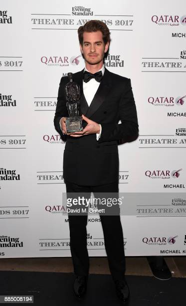 Andrew Garfield poses at the London Evening Standard Theatre Awards 2017 at the Theatre Royal Drury Lane on December 3 2017 in London England