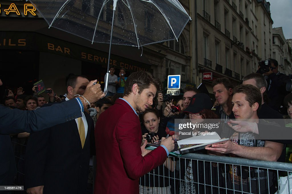 Andrew Garfield signs autographs during 'The Amazing Spider-Man' Paris Film premiere at Le Grand Rex on June 19, 2012 in Paris, France.