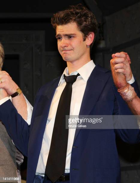 Andrew Garfield takes his Opening Night Curtain Call for 'Death Of A Salesman' at The Barrymore Theatre on March 15 2012 in New York City