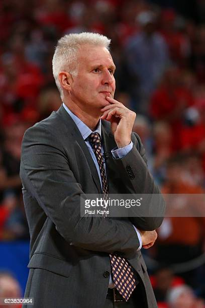 Andrew Gaze head coach of the Kings looks on during the round seven NBL match between the Perth Wildcats and the Sydney Kings at Perth Arena on...