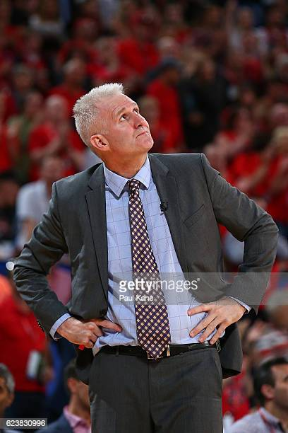 Andrew Gaze head coach of the Kings looks to the scoreboard during the round seven NBL match between the Perth Wildcats and the Sydney Kings at Perth...