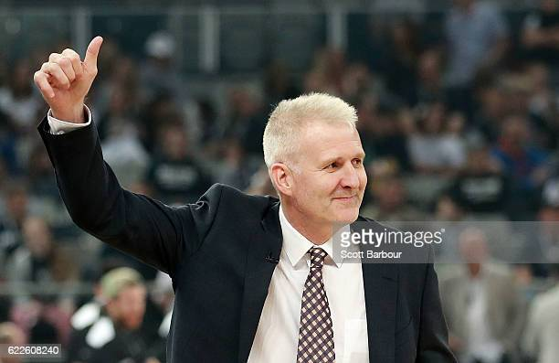 Andrew Gaze Head Coach of the Sydney Kings gestures during the round six NBL match between Melbourne United and the Sydney Kings at Hisense Arena on...